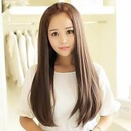 Χαμηλού Κόστους Συνθετικές περούκες μισού μεγέθους-Συνθετικές Περούκες Ίσιο Ασύμμετρο κούρεμα Συνθετικά μαλλιά 25 inch Αντιθερμικό Καφέ Περούκα Γυναικεία Μακρύ Χωρίς κάλυμμα Ash Μπράουν