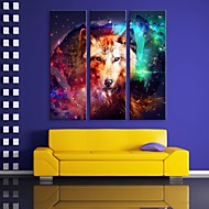 E-HOME® Stretched LED Canvas Print Art  The Wolf Flash Effect LED Flashing Optical Fiber Print Set of 3