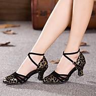 billige Moderne sko-Dame Moderne sko Syntetisk Sandaler Kubansk hæl Kan ikke spesialtilpasses Dansesko Svart og Sølv / Sort og Gull