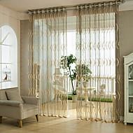 baratos Cortinas Transparentes-Dois Painéis Rústico / Moderno / Neoclassicismo / Mediterrêneo / Rococó / Barroco / Europeu / Designer Riscas Castanho Sala de Estar
