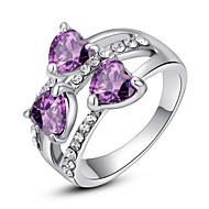 Dame Statement Ring Krystal Lilla Regnbue Gennemsigtig Simuleret diamant Legering Klassisk Kærlighed Mode Fest Kostume smykker