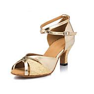 baratos Sapatilhas de Dança-Mulheres Sapatos de Dança Latina / Sapatos de Salsa Flocagem / Cetim Sandália / Salto Lantejoulas Salto Cubano Não Personalizável Sapatos de Dança Dourado / Interior / Profissional