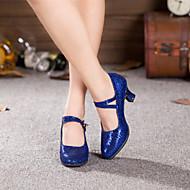 billige Moderne sko-Dame Moderne Paljett Høye hæler Spenne Kubansk hæl Svart Rød Blå Fuksia 5,5 cm Kan ikke spesialtilpasses