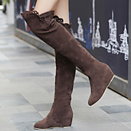 cheap Plus Size Shoes-Women's Shoes Suede Covered Low Heel Elevator Over Knee Boots With Cutout Embellishment More Color Available