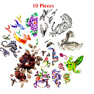 cheap Tattoo Stickers-10 Non Toxic Pattern Waterproof Animal Series Flower Series Others Tattoo Stickers