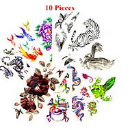billiga Temporära tatueringar-10 Ogiftig Mönster Vattentät Djurserier Blomserier Annat Tatueringsklistermärken