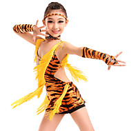 Latin Dans Gymnastik Kjoler Dame Børne Ydeevne Træning Mælkefiber Dyretryk 5 Dele Naturlig Kjole Handsker Halsklæder hovedbeklædning