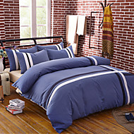 Duvet Cover Sets Stripe 4 Piece Cotton Reactive Print Cotton 1pc Duvet Cover 2pcs Shams 1pc Flat Sheet