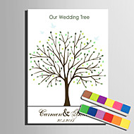 E-HOME® Personalized Fingerprint Painting Canvas Prints -Green Trees (Includes 12 Ink Colors)