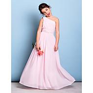 cheap -A-Line One Shoulder Floor Length Chiffon Junior Bridesmaid Dress with Beading / Sash / Ribbon / Side Draping by LAN TING BRIDE® / Natural