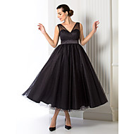 cheap -A-Line V Neck Tea Length Tulle Cocktail Party / Prom / Formal Evening Dress with Sash / Ribbon by TS Couture®