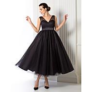 baratos -Linha A Decote V Longuette Tule Coquetel / Baile de Formatura / Evento Formal Vestido com Faixa / Fita de TS Couture®