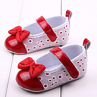 cheap Baby Shoes-Baby Girls' Shoes PU Fabric Spring Fall First Walkers Comfort Flats Bowknot for Casual Outdoor Dress Red Pink