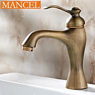 economico Serie bagno-centerset antico bagno d'ottone maniglia rubinetto lavabo