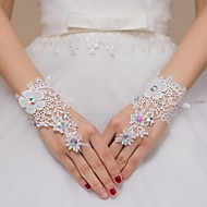 cheap Wedding Gloves-Lace Wrist Length Glove Bridal Gloves Party/ Evening Gloves Flower Girl Gloves With Rhinestone