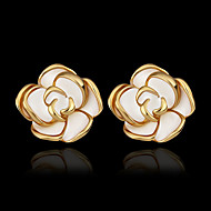 Women's Stud Earrings 18K Gold Plated Gold Plated Earrings Roses Flower Jewelry Gold For