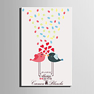 E-HOME® Personalized Fingerprint Painting Canvas Prints -Kissing Bird (Includes 12 Ink Colors)