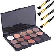 15 kleuren professionele warme make-up naakt oogschaduw mat shimmer palet cosmetische + 4 stuks potlood make-up borstel