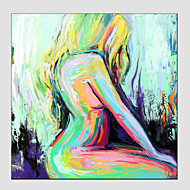 cheap Oil Paintings-Hand-Painted Abstract Portrait Square, Modern European Style Canvas Oil Painting Home Decoration One Panel