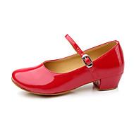 baratos Sapatilhas de Dança-Sapatos de Dança Moderna Couro / Sintético Salto Cadarço / Pêlo Salto Baixo Não Personalizável Sapatos de Dança Vermelho / Prateado /