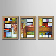 Oil Painting Decoration Abstract Hand Painted Natural linen with Stretched Framed - Set of 3