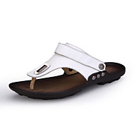 Men's Sandals Comfort Cowhide Leather Nappa Leather Summer Fall Outdoor Athletic Casual Button Flat Heel Black White Flat