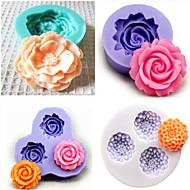 conjunto de 4 bakeware fondant silicone molde do bolo decoração do molde (cor aleatória)