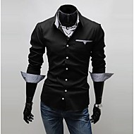 Prugasti uzorak / Obično Muška Majica Ležerne prilike / Posao / Formalno,Pamuk Dugih rukava Crna / Crvena / Bijela