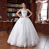 Krinolina Bez naramenica Do poda Obojena čipka Vjenčanica s Perlica Aplikacije po Embroidered Bridal