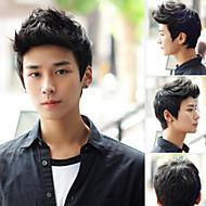 capelli corti neri parrucca di moda maschile di alta qualità sintetico