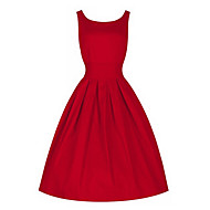 Mulheres Vintage Solto Vestido - Pregueado, Sólido Altura dos Joelhos