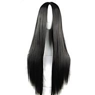 Syntetiske parykker / Kostumeparykker Lige Assymetrisk frisure Syntetisk hår Natural Hairline Sort Paryk Dame Lang Lågløs Sort