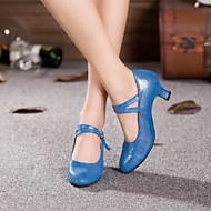"""billige Moderne sko-Dame Moderne Glimtende Glitter Kunstlær Høye hæler Innendørs Profesjonell Trening Spenne Kubansk hæl Svart Gull Lyseblå 2 """"- 2 3/4"""" Kan"""
