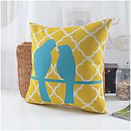 estilo country padrão par pássaros algodão / linho capa de travesseiro decorativo