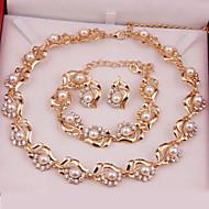 Dames Sieraden Set Modieus Kostuum juwelen Parel Legering Kettingen Oorbellen Armbanden Voor Bruiloft Feest Speciale gelegenheden