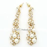 Dråbeøreringe Imiteret Perle Kvadratisk Zirconium Legering Mode Guld Smykker 1 Sæt