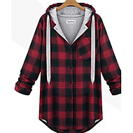 Žene Veći konfekcijski brojevi Pamuk Duga hoodie jakna - Print, Karirani uzorak