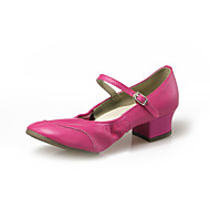 """billige Moderne sko-Dame Barne Moderne Lær Høye hæler Innendørs Profesjonell Nybegynner Trening Spenne Tykk hæl Svart Hvit Rød Rosa Grønn Under 1 """" Kan ikke"""