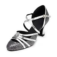 billige Moderne sko-Dame Moderne Glitter Sandaler Kubansk hæl Svart og Sølv Kan spesialtilpasses