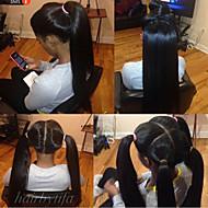 Cappelli veri Senza colla e con tulle integrale Lace integrale Parrucca stile Brasiliano Liscio Parrucca 120% Densità dei capelli con i capelli del bambino Attaccatura dei capelli naturale Parrucca