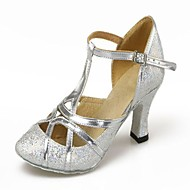 "Women's Modern Ballroom Paillette Leatherette Heel Professional Indoor Sequin Cuban Heel Silver Gold 2"" - 2 3/4"" Non Customizable"