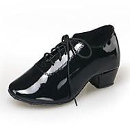 """billige Moderne sko-Herre Barne Moderne Kunstlær Høye hæler Innendørs Nybegynner Trening Snøring Lav hæl Svart Under 1 """" Kan ikke spesialtilpasses"""