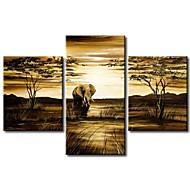 handgemalte moderne abstrakte Elefanten Giraffe Vintage afrikanischen Landschaftsölgemälde auf Segeltuch 3pcs / set keinen Rahmen
