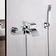 Bathtub Faucet - Contemporary Chrome Wall Mounted Ceramic Valve Bath Shower Mixer Taps