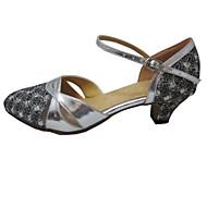 billige Moderne sko-Dame Standard sko Glimtende Glitter Kunstlær Sandaler Innendørs Profesjonell Nybegynner Trening Kustomisert hæl Sølv Kan spesialtilpasses
