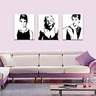 cheap Prints-People Romance Leisure Modern Pop Art Three Panels Vertical Print Wall Decor Home Decoration