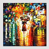 Oil Paintings Modern Landscape Rainy Street Canvas Material With Wooden Stretcher Ready To Hang SIZE:70*70CM. .