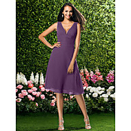 cheap Under $90 Bridesmaid Dresses-A-Line V Neck Knee Length Chiffon Bridesmaid Dress with Draping / Ruched by LAN TING BRIDE®