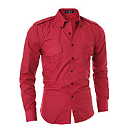 Majica Muškarci,Jednostavno Ležerno/za svaki dan Jednobojni-Dugih rukava Kragna košulje-Proljeće / Jesen Crvena / Crna / Siva Srednje