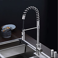 cheap Kitchen Faucets-Contemporary Pull-out/Pull-down Deck Mounted Pullout Spray One Hole Single Handle One Hole Stainless Steel , Kitchen faucet